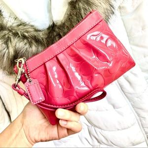 COACH⚡️Authentic Pink Pattern Leather Wristlet